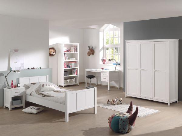 Stella Set best. aus Bett, Schreibtisch, Regal, Kleiderschrank 3-trg. & Nachttisch, weiß