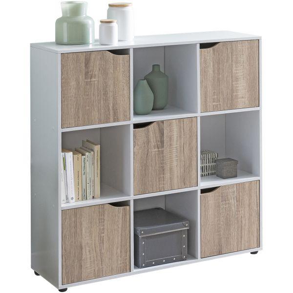 Sideboard SAMO 89 x 91 x 29 cm Bücherregal mit 9 Fächern Sonoma