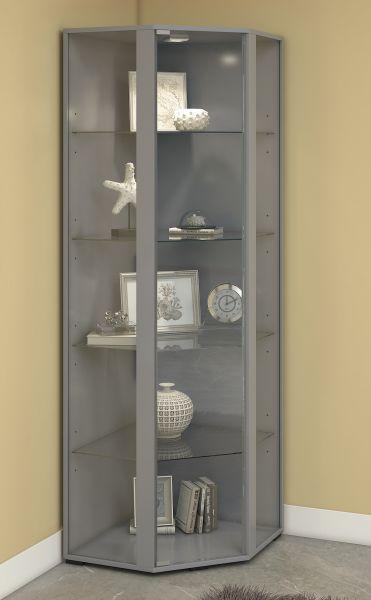 Eckvitrine Venedig - mit LED-Beleuchtung - Silber   Wohnzimmer > Vitrinen > Eckvitrinen   Silber   VCM-Möbel