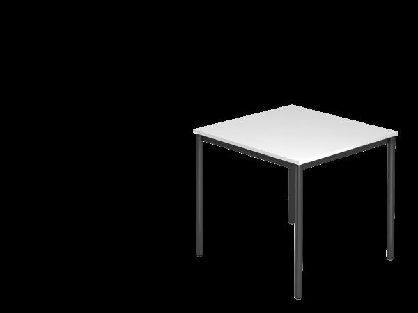 Besprechungstisch Rundfuß 80x80 Weiß / Schwarz
