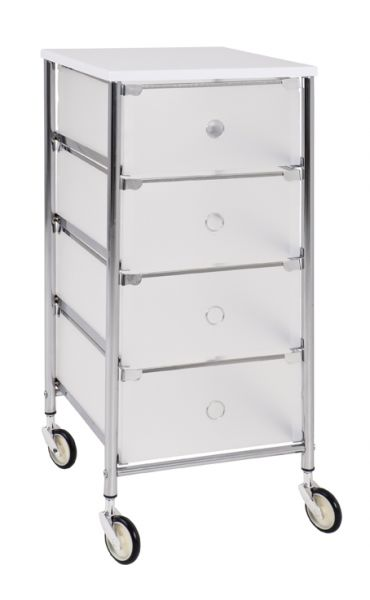 Rollwagen, Chrom - weiß, Metall, Kunststoff, 33x36x73cm