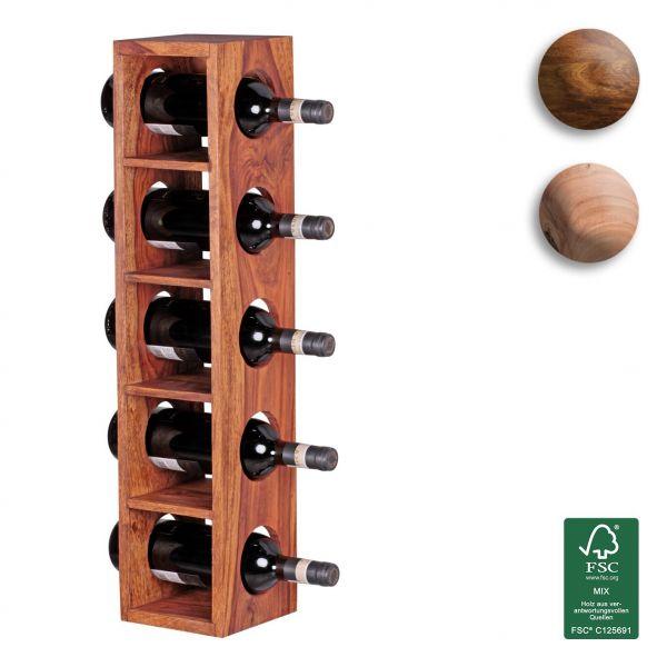 Sheesham Weinregal, Flaschen-Regal, Wandmontage für 5 Flaschen, Massiv-Holz