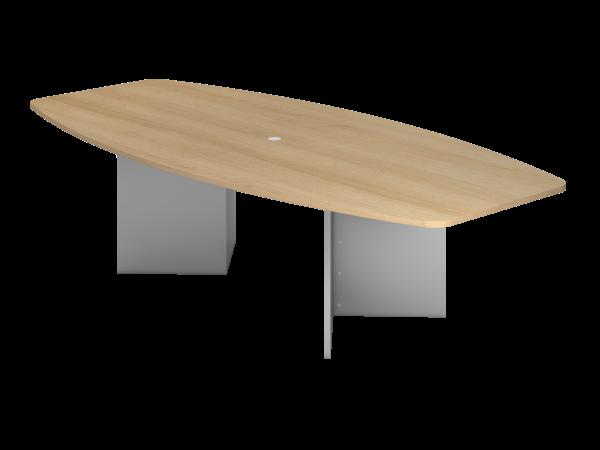 Konferenztisch KT28H 280x130cm Eiche Holzgestell: Silber