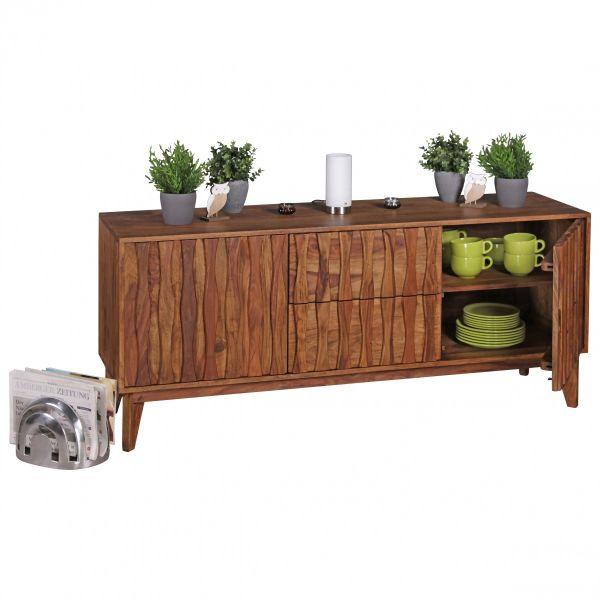 Sheesham Sideboard mit 2 Schubladen 2 Türen, Massivholz, 160 cm