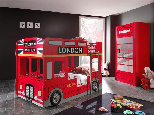 Set London best. aus: Etagenbett und Kleiderschrank 2-trg., Rot