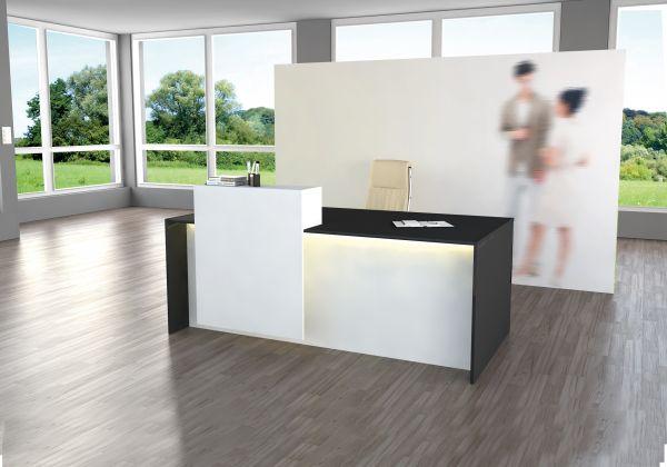 Empfangstheke Palermo, Design-Theke Rezeption, Weiß / Anthrazit 180x92cm