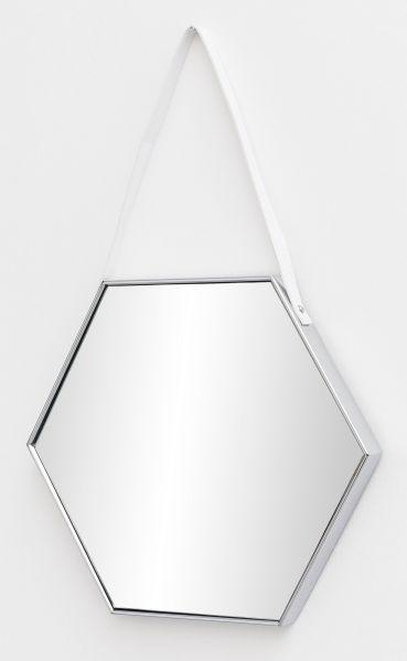 Wandspiegel Spiegel mit Rahmen Flurspiegel Sechseckig Silber 48x57x4 cm