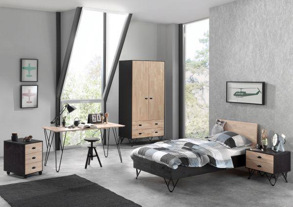 Set William best. aus: Einzelbett, Nachtschrank, Kleiderschrank, Schreibtisch, Rollcontainer, Kiefer