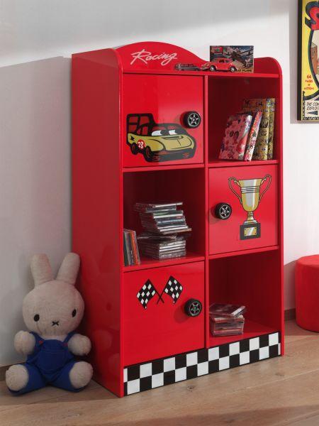 Regal mit 3 Türen und 3 offenen Fächern, Rot