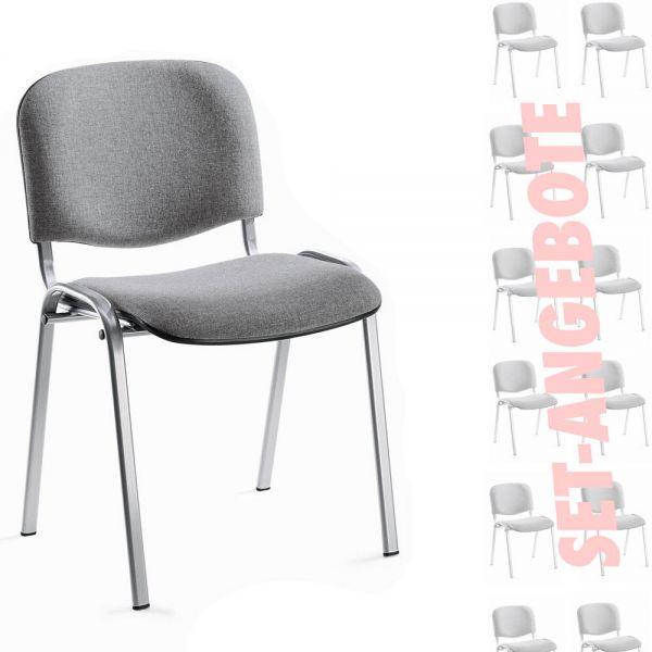 8er Set-Besucherstühle ISO Bezug Stoff Basic, grau