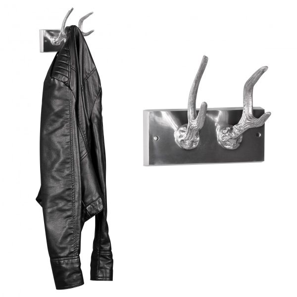 Garderobenhaken Hirschhörner, 2er Set, aus Aluminium, Silber