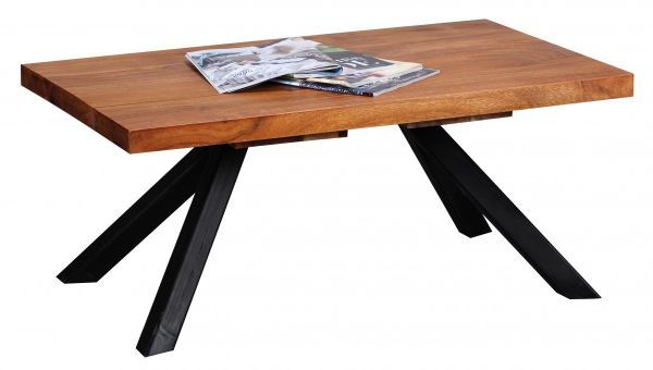 Sheesham Couchtisch, Wohnzimmer-Tisch, Dunkel-Braun, Massiv-Holz, 90 cm breit
