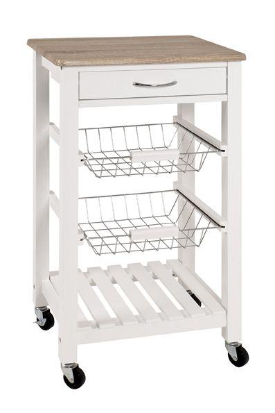 Küchenwagen, weiß - Eiche hell, MDF, 47x37x84cm