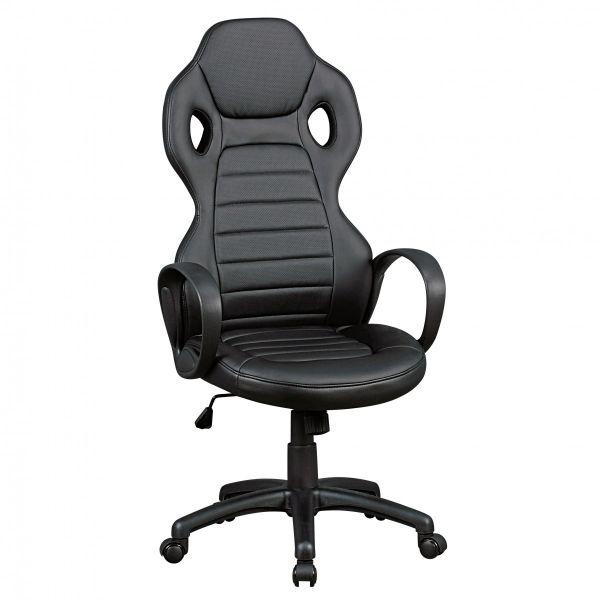 MONZA Bürostuhl Schreibtischstuhl Chefsessel, Kunstleder Schwarz