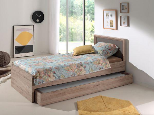 Set Emiel best. aus: Einzelbett, Bettschublade, Eiche San Remo Dekor
